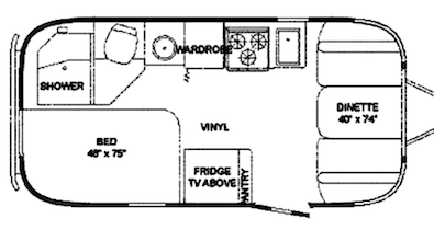 black and white drawn image of a trailer floor plan