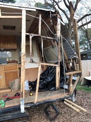 Old trailer framing falling down and falling apart