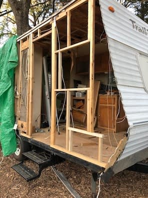 wooden trailer frame without siding